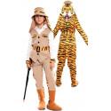 Disfraz Doble de Cazador y Tigre para Niño
