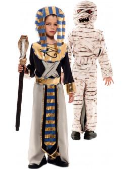 Disfraz Doble de Egipcio y Momia para Niño