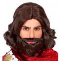 Peluca de Rey Medieval Castaña con Barba