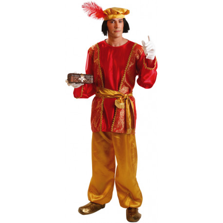Disfraz de Paje Real Rojo para Hombre