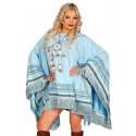 Poncho Hippie Azul Cielo para Mujer