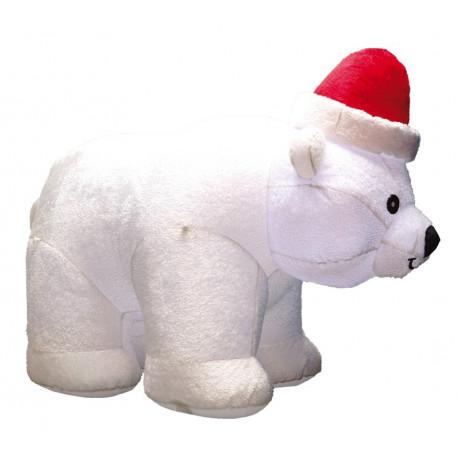 Oso Polar Hinchable con Pelo y Gorro de Papá Noel