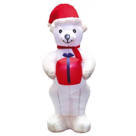 Oso de Navidad Hinchable de 210cm con Pelo