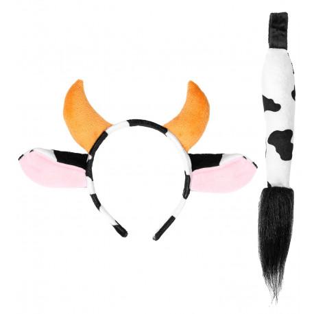 Kit de Disfraz Vaca con Cola y Diadema