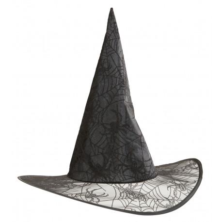 Sombrero de Bruja con Telarañas y Purpurina