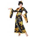 Disfraz de Geisha Negra con Flores para Mujer