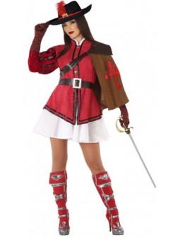 Disfraz de Mosquetera Rojo para Mujer