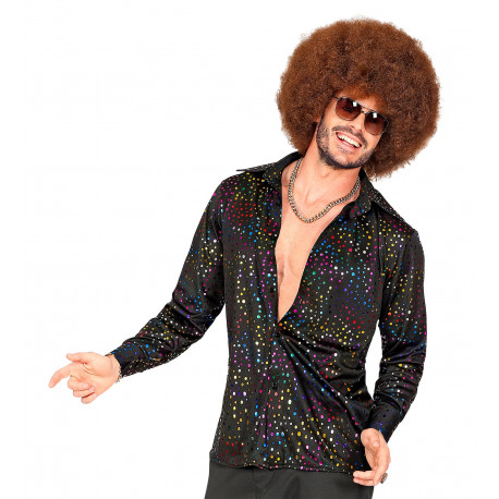 Camisa Disco Negra con Topos de Colores para Hombre