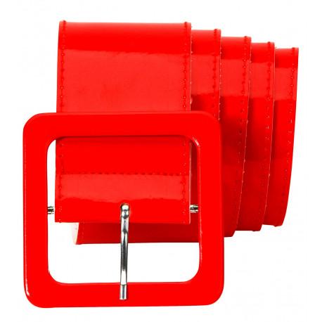 Cinturón Rojo Ancho de Vinilo