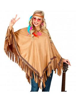 Poncho Hippie Marrón con Flechos para Adulto