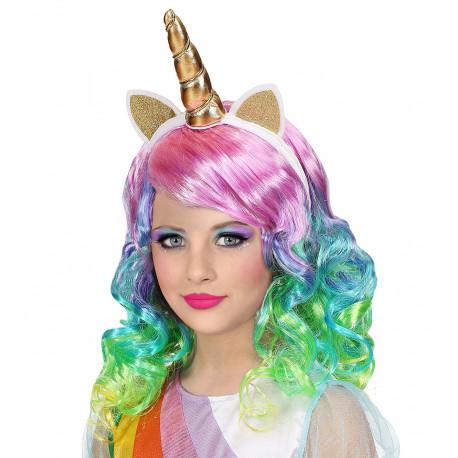 Peluca de Unicornio con Diadema para Niña