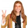 Peluca de Hippie Castaña Larga de Hombre