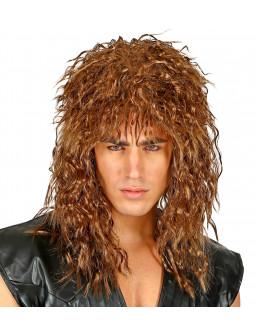 Peluca de Bon Jovi Castaña Estilo Años 80