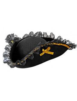 Sombrero Pirata Negro con Lazos y Puntilla