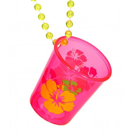 Vaso de Chupito Rosa con Collar de Bolas