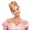 Tiara de Princesa Dorada con Gemas Rojas Infantil
