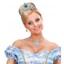 Tiara de Princesa Plateada con Gemas Azules Infantil
