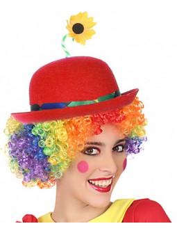 Sombrero de Payaso Rojo con Flor