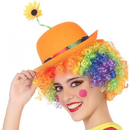 Sombrero de Payaso Naranja con Flor