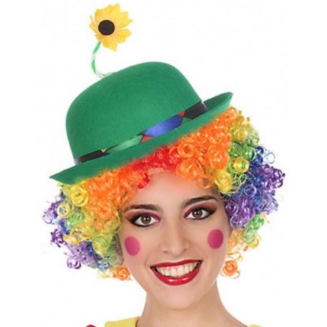 Sombrero de Payaso Verde con Flor