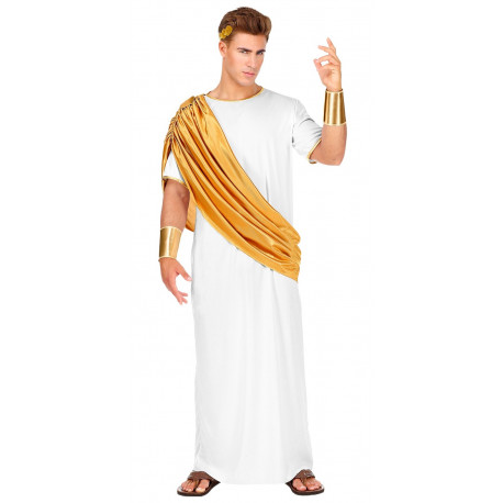 Disfraz de Julio César con Toga Dorada para Hombre