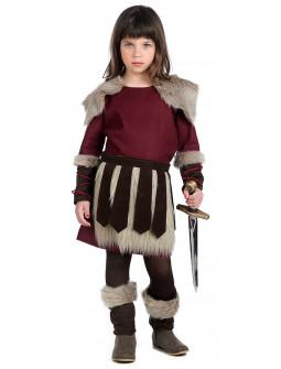 Disfraz de Guerrera Vikinga Granate para Niña