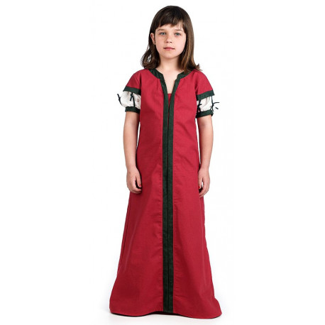 Disfraz de Doncella Medieval Rojo para Niña