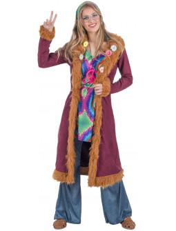 Disfraz de Hippie con Abrigo para Mujer