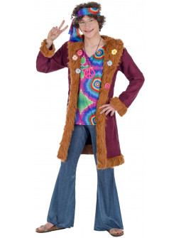 Disfraz de Hippie con Abrigo para Hombre