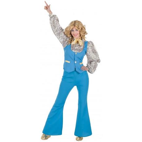 Disfraz de Chica Disco Años 70 Azul para Mujer