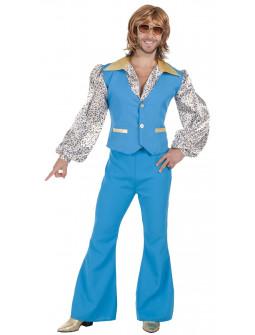 Disfraz de Chico Disco Años 70 Azul para Hombre