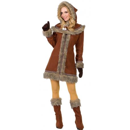 Disfraz de Esquimal Nórdica Marrón para Mujer