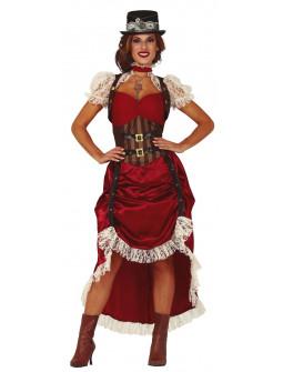 Disfraz Steampunk Rojo con Encaje para Mujer