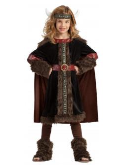 Disfraz de Guerrera Vikinga Negro para Niña
