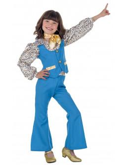 Disfraz de Chica Disco Años 70 Azul para Niña
