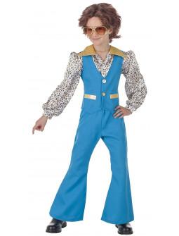 Disfraz de Chico Disco Años 70 Azul para Niño