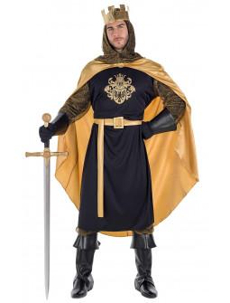 Disfraz de Rey Medieval Negro con Capa para Hombre