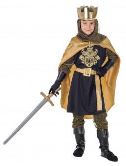 Disfraz de Rey Medieval Negro con Capa para Niño