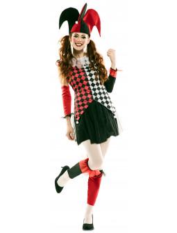 Disfraz de Arlequín Rojo y Negro para Mujer