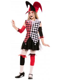 Disfraz de Arlequín Rojo y Negro para Niña