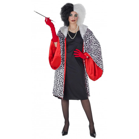 Disfraz de Cruella con Abrigo de Dálmata para Mujer