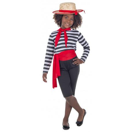 Disfraz de Gondolera Veneciana para Niña