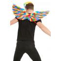Alas Arcoíris con Plumas de Colores de 80cm