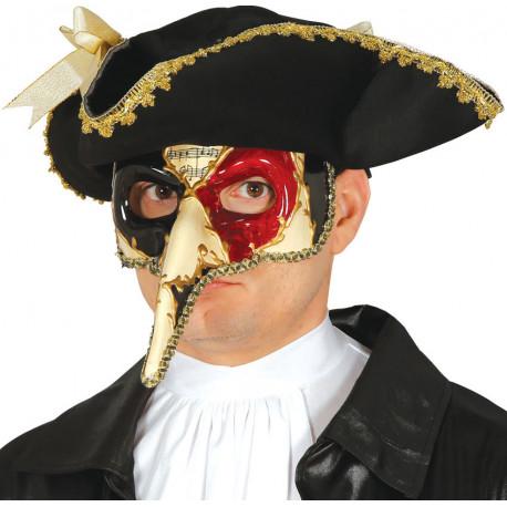 Máscara Veneciana Decorada Rojo y Negro