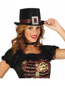 Chistera Negra con Hebilla Steampunk