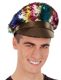 Gorra de Policía Multicolor con Lentejuelas