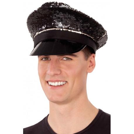Gorra de Policía Negra con Lentejuelas