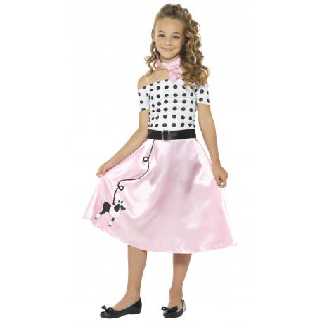 Disfraz de Chica Años 50 con Lunares para Niña