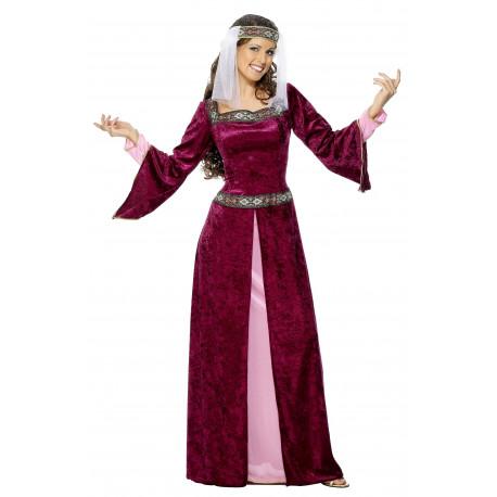 Disfraz de Dama Medieval Burdeos para Mujer