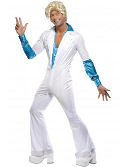 Disfraz de Abba Años 70 Azul y Blanco para Hombre